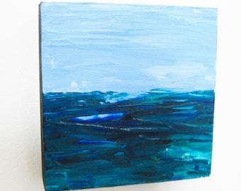 Original Seascape Acrylic New England Abstract Seacoast Painting Massachusetts Western Avenue Studios Artist Kathleen Daughan Sea Essay 41