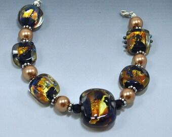 Fire Opal Lampwork Bead Bracelet