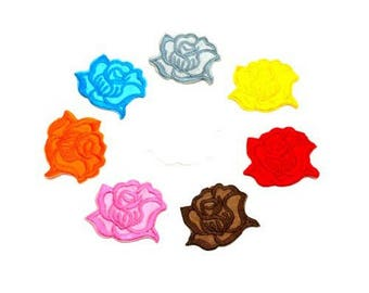 Set of 7 seconds flowers 4.5 CM - Customisations textile applique patch iron - mix of red, yellow, pink, white colors.