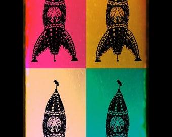 4 Rockets Color Block Print