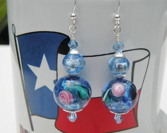 Blue & Violet Silver Foil Murano Glass, Monet Lilly Pad Earrings, 14mm Venetian Beads, Swarovski Crystals, Sterling Silver Wires or Posts