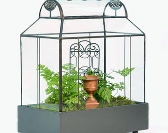Large Glass Terrarium, Planter Container,  H Potter Barrel Roof Wardian Case, Fairy Garden, Plant Box, Terrarium Container, Garden Gift