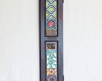 Mosaic Wall Art Horizontal Art or Vertical Wall Art Narrow Wall Art Ceramic Tile Mosaic Art Reclaimed Wood Frame Colorful Pottery Boho Decor