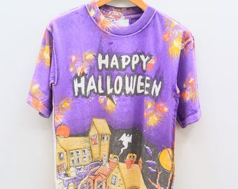 Vintage HAPPY HALLOWEEN Streetwear Purple Tee T Shirt