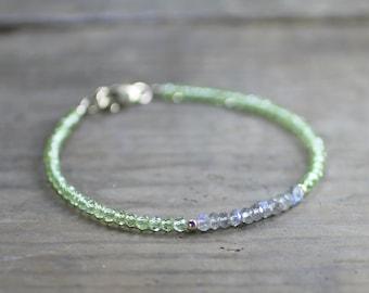 Delicate Labradorite & Peridot Bracelet in Sterling Silver or Gold Filled, August Birthstone Jewelry, Grey Green Gemstone Crystal Bracelet
