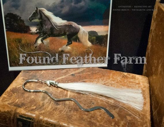 Handmade Horsehair Tassel Bookmark withPewter Horse Head End Cap