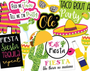 Fiesta Photo Booth Props, Instant Download Photo Booth Props, Printable Photo Booth Props, Digital Photo Booth Props, Fiesta Party Decor