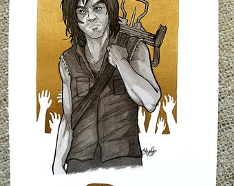 Inktober 2017 Original Art - [10] Daryl Dixon from The Walking Dead