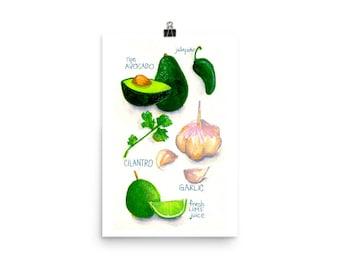 Guacamole / Art Print of Food Recipe Watercolor
