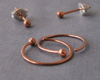 Hammered Copper Hoops and Ball Post Earrings, 20g Artisan Jewelry