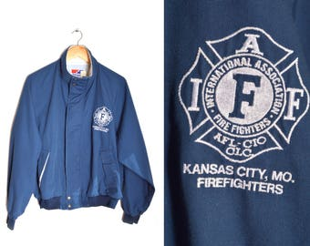 80s Kansas City Fire Department Jacket Navy Blue Zip Front Large