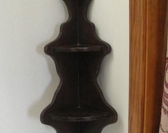 Vintage Dark Wood Corner Shelf - Knick Knack Shelf
