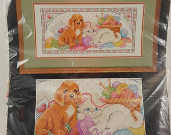 Vintage Bucilla Stamped Cross Stitch Kit, Dog And Cat Cross Stitch Kit, Playful Pals Cross Stitch Kit, Animals Cross Stitch Kit