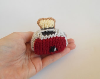 Mini Toaster Knitted Soft Ornament - Kitchen Ornament - Unique Soft Ornament - Food Decor - Knitted Stuffed Toy - Desk Decor - Mobile Supply