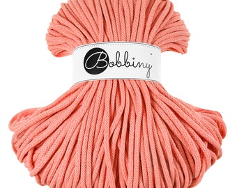 5mm Bobbiny Cotton Cord 108 yards (100 meters) - Peach; macrame cord, chunky yarn, cotton rope