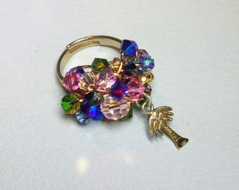 Tropical Vibes Swarovski Crystal Gold Plated Adjustable Ring