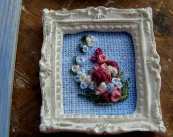 dollhouse embroidery needlepoint french knot framed miniature