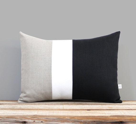 Classic Color Block Decorative Pillow With Black Cream And