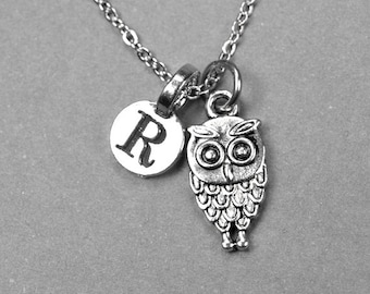 Owl Necklace, owl charm, antiqued silver plated pewter, initial necklace, initial hand stamped, personalized, monogram
