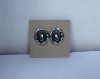 Vintage Napier Pierced Post Earrings - Grey Faux Pearl Cabochons - Silver Tone