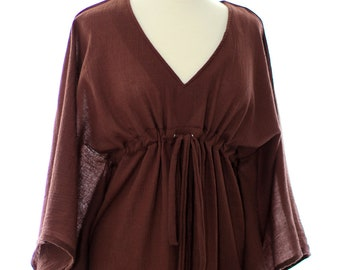 Kaftan Maxi Dress - Beach Cover Up - Caftan in Brown Cotton Gauze - 20 Colors