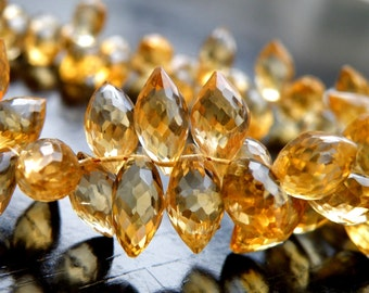 Outstanding Citrine Gemstone Briolette Faceted Marquis 11.5 to 12mm 7 beads