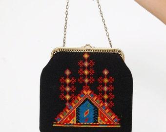 Vintage 60s EMBROIDERED Purse Black Boho Handbag ETHNIC Bag