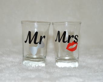 Mr and Mrs Shot Glass Set Bridal Party, Bachelorette Party, Bachelor Party, Wedding Reception His and Hers Shot Glasses Custom Shot glasses