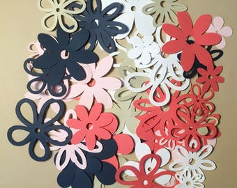 60 assorted Flower Coral and Navy Cricut Die Cuts