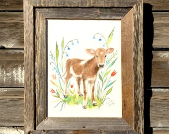 Little Calf, Barnwood Framed Original Painting, watercolor, cow, calf, acrylic, farm, flowers