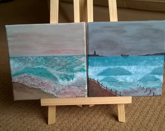 Pair of small Acrylic 'Seascapes'