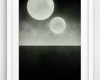 Black and White Large Wall Art, Two Moons, Geek Art, Science Fiction, Surrealist, Space Art