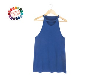 Keyhole Tank Top - Cut Out T-shirt, Loose Fit Tank, Choker Top in True Royal or Pick a Custom Color - Women's Size S-3XL
