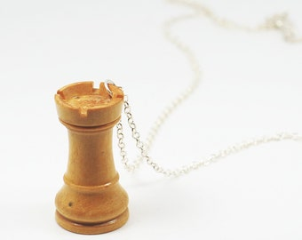Chess Piece Necklace- Wood White Rook Necklace, Upcycled Jewelry, Chess Jewelry, Chess Necklace, Chess Piece Pendant, Chess Player Gift