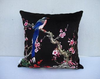 Flower Bird Pillowcase Flowers Pillow Bird Cushion Cover Decorative Velvet Pillow Black Pillow Sitting Birds