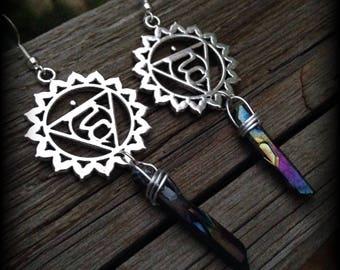 Vishudha Chakra Symbol Silver Earrings, Hypoallergenic Hooks, Rainbow Titanium Quartz Crystals