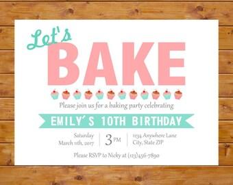 Baking Birthday Invitation - Baking Party Invitation - Cupcake Invitation - Girl Birthday Party - Printable, Custom, Digital File