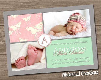 Baby Girl Birth Announcement (Digital File) - Addison - I Design, You Print