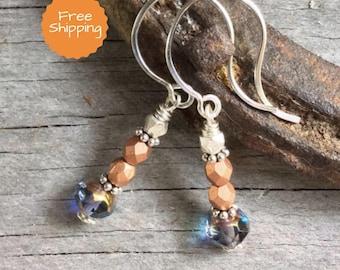 Copper & Periwinkle Crystal Earrings