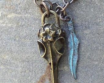 Raven skull unisex necklace