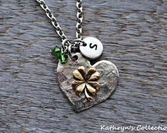 Shamrock Necklace, Irish Necklace, Four leaf Clover Jewelry, Good Luck Necklace, Irish Necklace, Clover Necklace