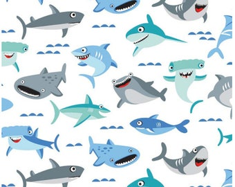 "Sharktown White, Shark Fabric by the yard / ""Sharktown"" By Shawn Wallace for Riley Blake, C6350 -WHITE / Yardage and Fat Quarters"