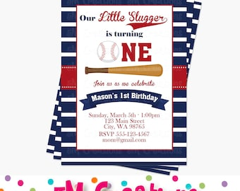 Baseball Birthday Party Invitations - Baseball Party Printable Invitation - Sports Party Digital Printable Invite - First birthday Second