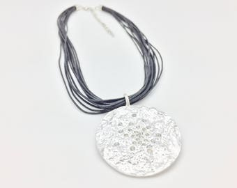 "Silver Moon Necklace on Wax Cord // 16"" with 2"" Extension // Non Tarnishing Silver Plated Brass"