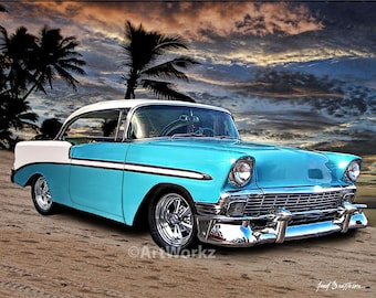 1956 Chevy Hardtop - Classic Car Print - Hot Rod Art - Muscle Car print - 8x10 print w/ 11 x 14 Mat, AW1