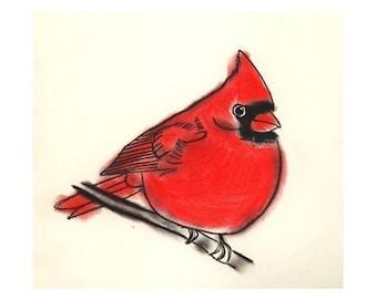 """Bird Art print -  Little Cardinal - (4"""" X 6"""" print) - 4 for 3 SALE"""