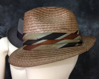 Vintage fedora Sears brown summer straw 7 3/8 Crushaire