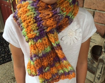 Hand-Knit Girl's Wool Scarf