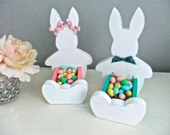 Easter Bunny Chocolate Egg Holder Solid Pine Wood White w/Pink or White/Beach Glass Green Shabby Chic