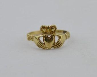 10k Yellow Gold Estate Irish Claddagh Ring Size 6